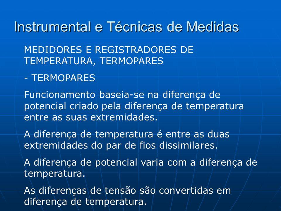 Instrumental e Técnicas de Medidas MEDIDORES E REGISTRADORES DE TEMPERATURA, TERMOPARES - TERMOPARES Funcionamento baseia-se na diferença de potencial