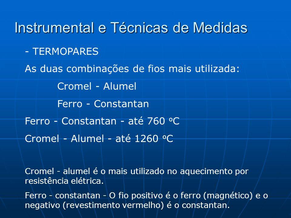 Instrumental e Técnicas de Medidas - TERMOPARES As duas combinações de fios mais utilizada: Cromel - Alumel Ferro - Constantan Ferro - Constantan - at