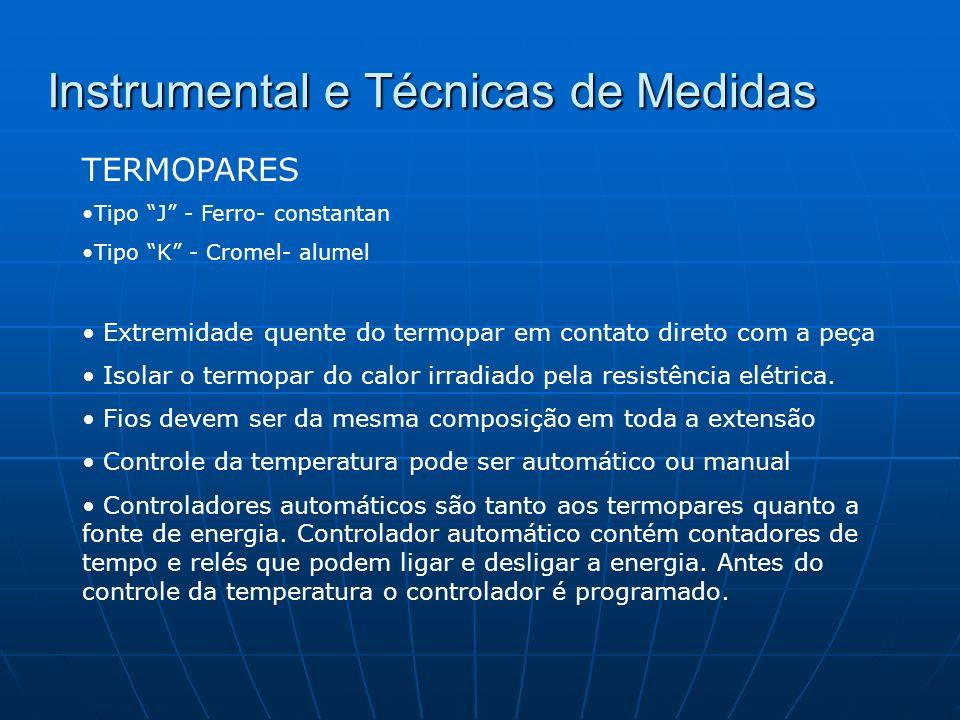 Instrumental e Técnicas de Medidas TERMOPARES Tipo J - Ferro- constantan Tipo K - Cromel- alumel Extremidade quente do termopar em contato direto com