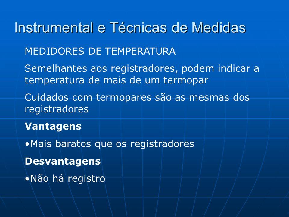 Instrumental e Técnicas de Medidas MEDIDORES DE TEMPERATURA Semelhantes aos registradores, podem indicar a temperatura de mais de um termopar Cuidados