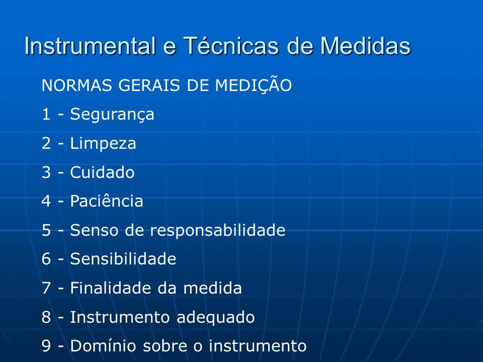 Instrumental e Técnicas de Medidas NORMAS GERAIS DE MEDIÇÃO 1 - Segurança 2 - Limpeza 3 - Cuidado 4 - Paciência 5 - Senso de responsabilidade 6 - Sens