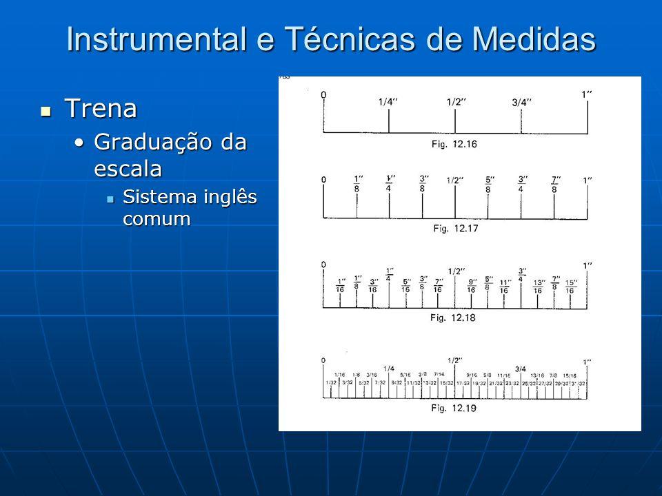 Instrumental e Técnicas de Medidas Trena Trena Graduação da escalaGraduação da escala Sistema inglês comum Sistema inglês comum