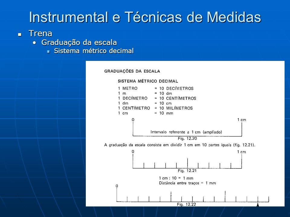 Instrumental e Técnicas de Medidas Trena Trena Graduação da escalaGraduação da escala Sistema métrico decimal Sistema métrico decimal