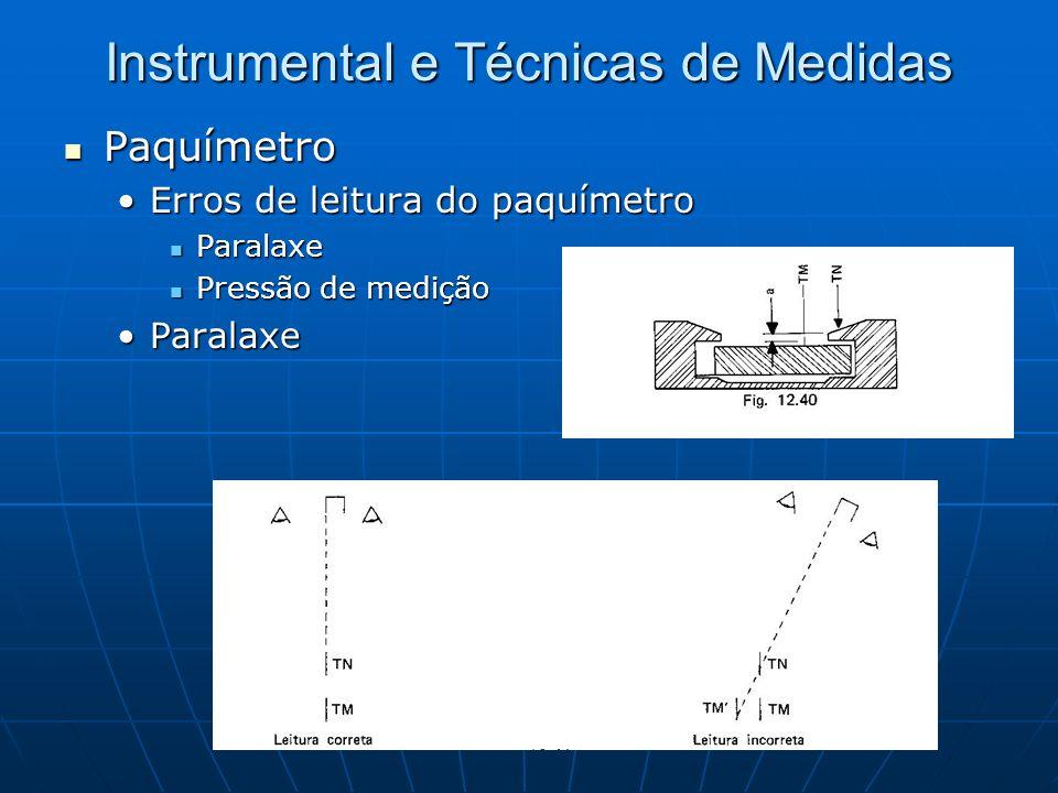 Instrumental e Técnicas de Medidas Paquímetro Paquímetro Erros de leitura do paquímetroErros de leitura do paquímetro Paralaxe Paralaxe Pressão de med