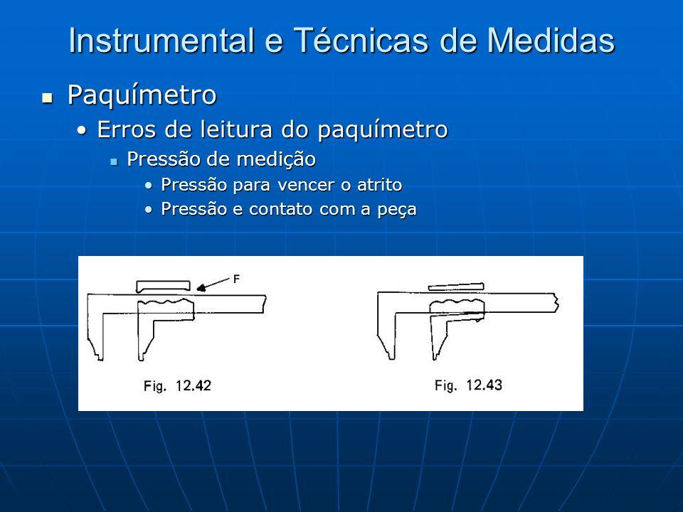 Instrumental e Técnicas de Medidas Paquímetro Paquímetro Erros de leitura do paquímetroErros de leitura do paquímetro Pressão de medição Pressão de me