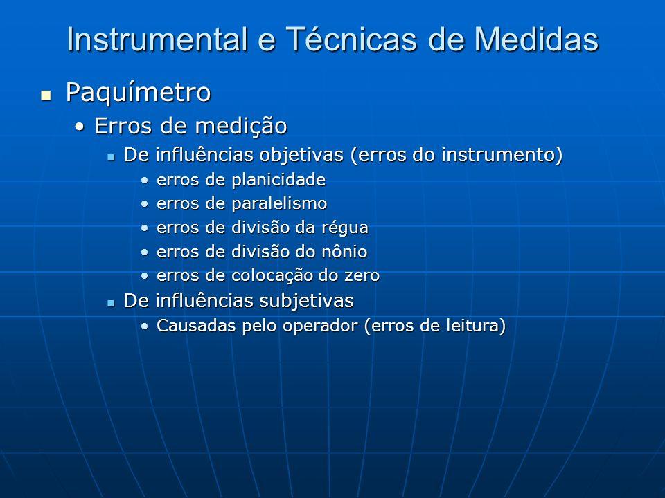 Instrumental e Técnicas de Medidas Paquímetro Paquímetro Erros de mediçãoErros de medição De influências objetivas (erros do instrumento) De influênci