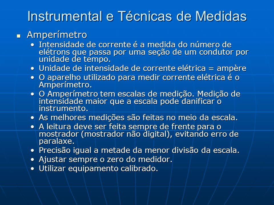 Instrumental e Técnicas de Medidas Amperímetro Amperímetro Intensidade de corrente é a medida do número de elétrons que passa por uma seção de um cond