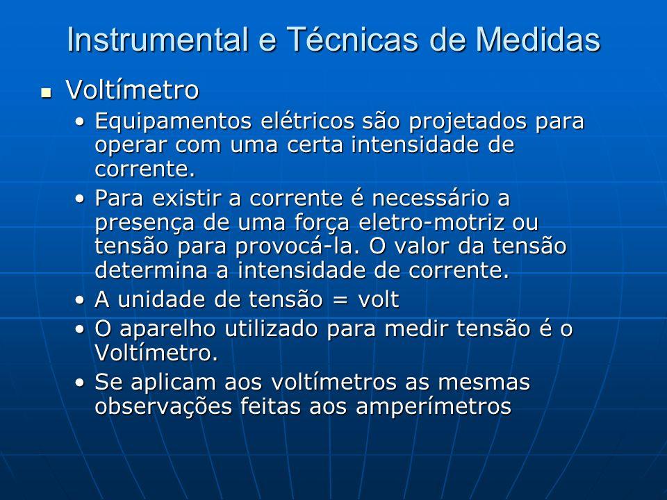 Instrumental e Técnicas de Medidas Voltímetro Voltímetro Equipamentos elétricos são projetados para operar com uma certa intensidade de corrente.Equip