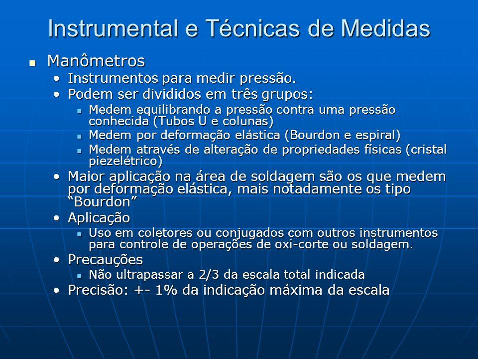 Instrumental e Técnicas de Medidas Manômetros Manômetros Instrumentos para medir pressão.Instrumentos para medir pressão. Podem ser divididos em três