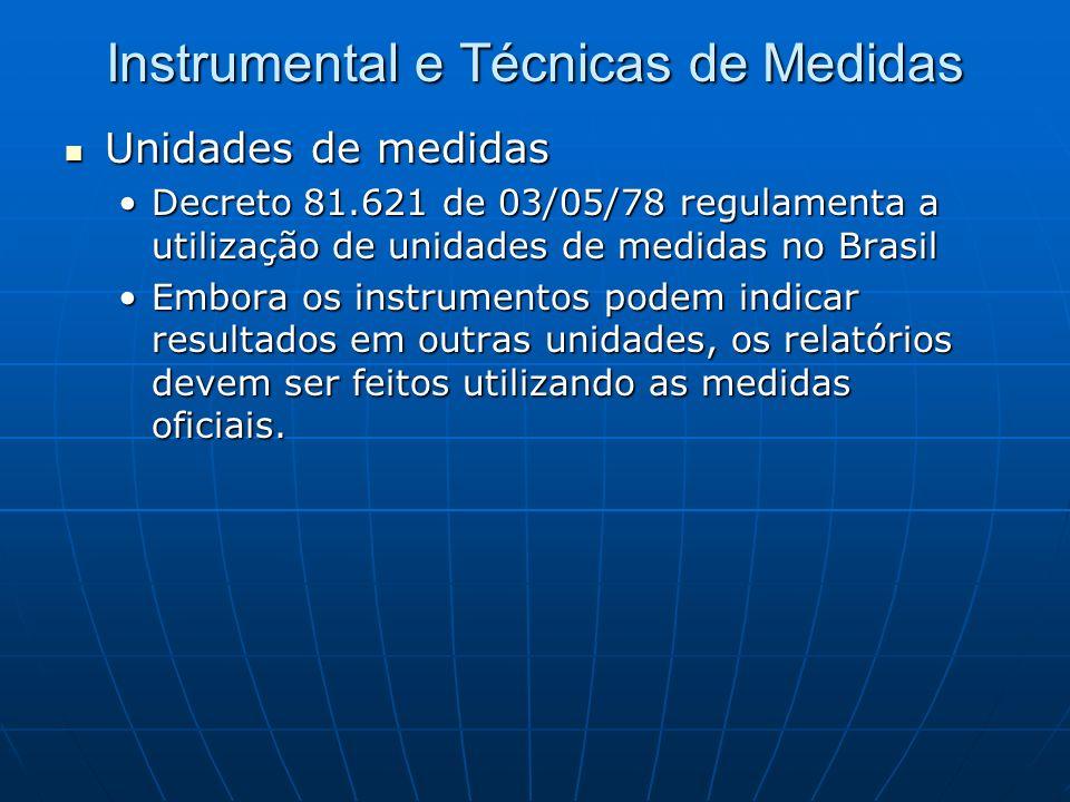 Instrumental e Técnicas de Medidas Unidades de medidas Unidades de medidas Decreto 81.621 de 03/05/78 regulamenta a utilização de unidades de medidas