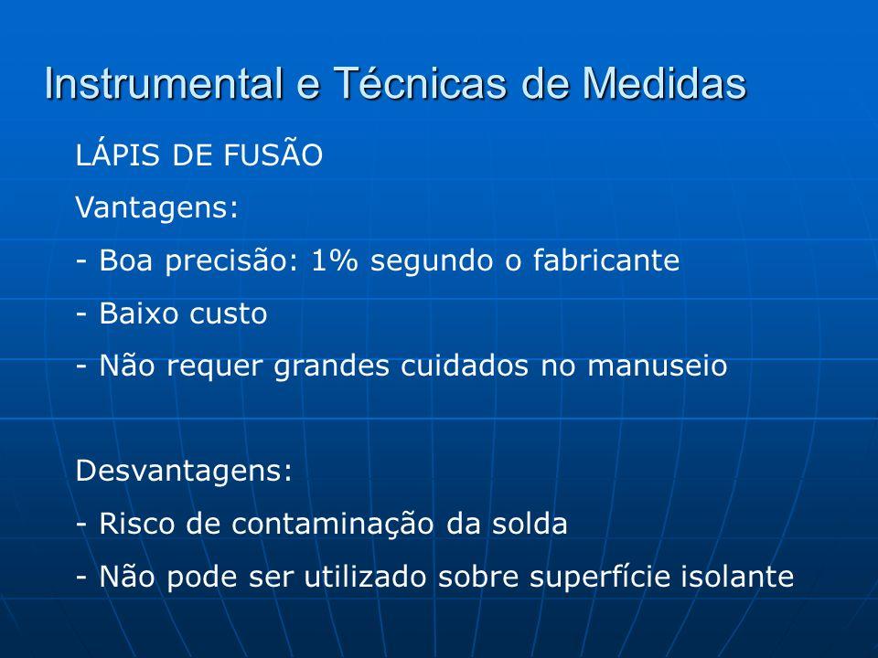 Instrumental e Técnicas de Medidas MEDIDORES E REGISTRADORES DE TEMPERATURA, TERMOPARES - TERMOPARES Funcionamento baseia-se na diferença de potencial criado pela diferença de temperatura entre as suas extremidades.