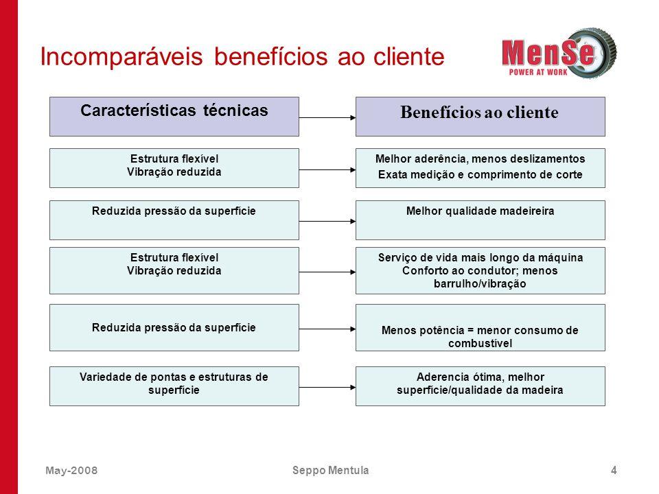 May-2008Seppo Mentula4 Incomparáveis benefícios ao cliente Características técnicas Benefícios ao cliente Estrutura flexível Vibração reduzida Melhor