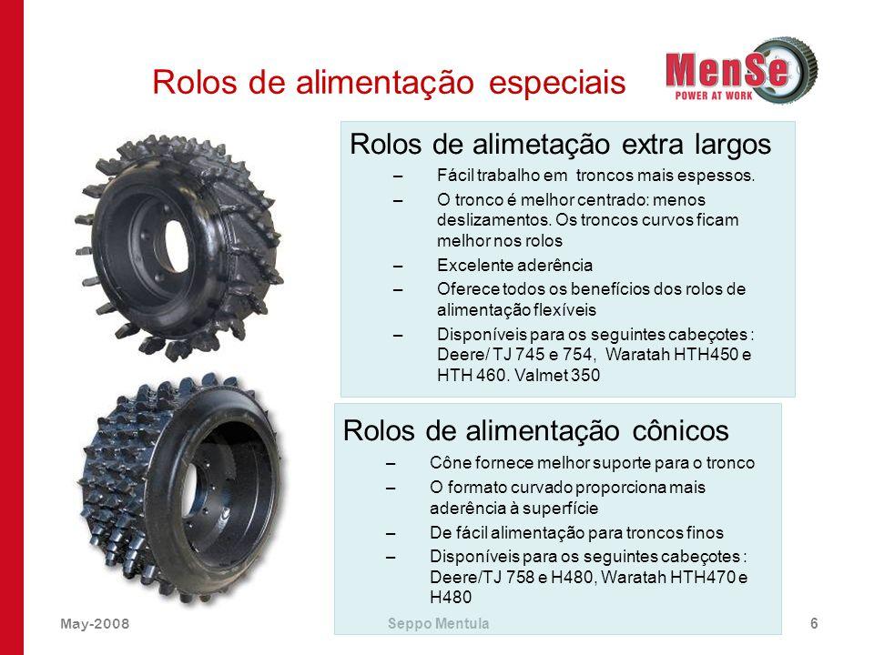May-2008Seppo Mentula6 Rolos de alimentação especiais Rolos de alimentação cônicos –Cône fornece melhor suporte para o tronco –O formato curvado propo