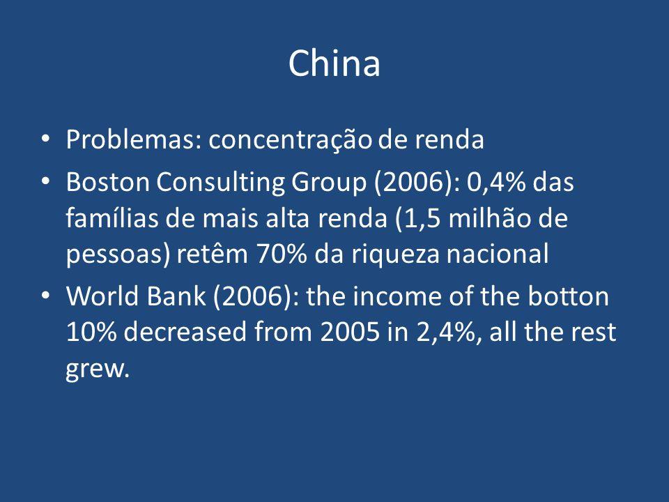 Problemas: concentração de renda Boston Consulting Group (2006): 0,4% das famílias de mais alta renda (1,5 milhão de pessoas) retêm 70% da riqueza nac