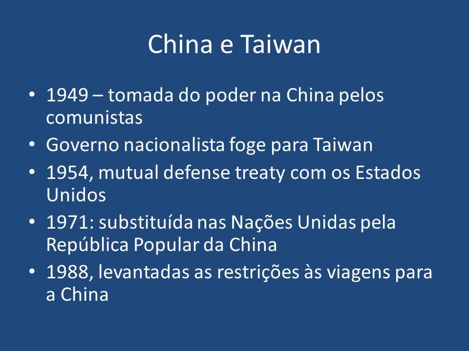 China e Taiwan 1949 – tomada do poder na China pelos comunistas Governo nacionalista foge para Taiwan 1954, mutual defense treaty com os Estados Unido