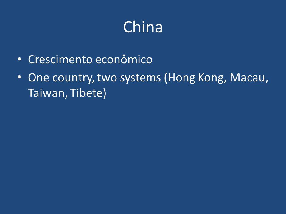 China Crescimento econômico One country, two systems (Hong Kong, Macau, Taiwan, Tibete)
