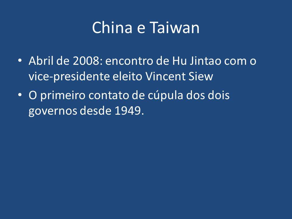 China e Taiwan Abril de 2008: encontro de Hu Jintao com o vice-presidente eleito Vincent Siew O primeiro contato de cúpula dos dois governos desde 194