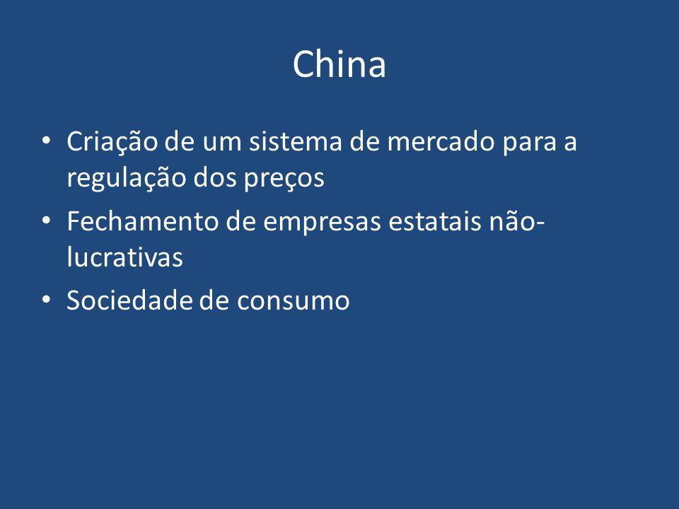 China Criação de um sistema de mercado para a regulação dos preços Fechamento de empresas estatais não- lucrativas Sociedade de consumo