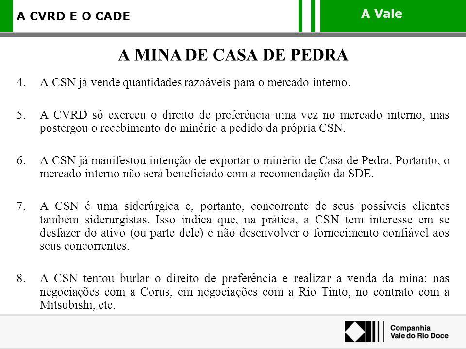 A Vale A CVRD E O CADE 4.A CSN já vende quantidades razoáveis para o mercado interno. 5.A CVRD só exerceu o direito de preferência uma vez no mercado