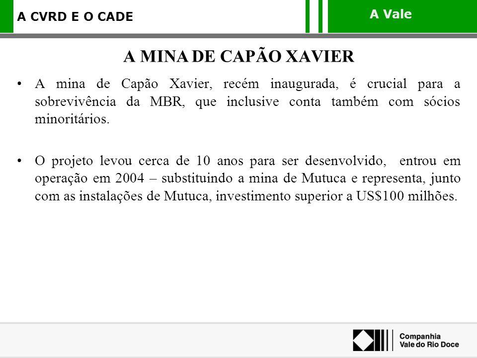 A Vale A CVRD E O CADE A mina de Capão Xavier, recém inaugurada, é crucial para a sobrevivência da MBR, que inclusive conta também com sócios minoritá