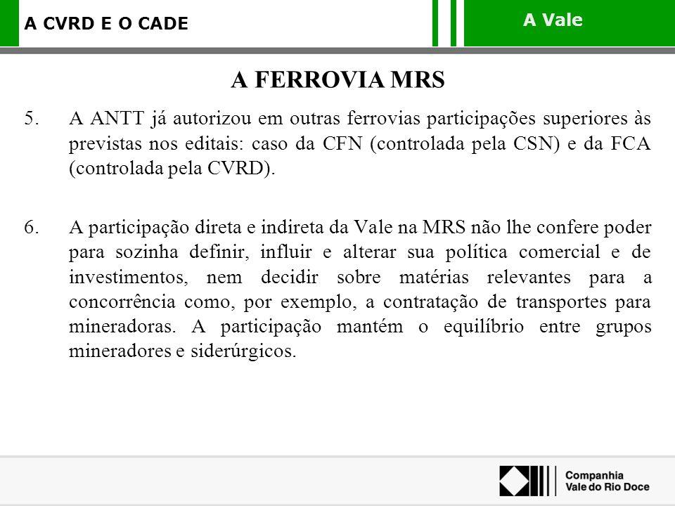 A Vale A CVRD E O CADE 5.A ANTT já autorizou em outras ferrovias participações superiores às previstas nos editais: caso da CFN (controlada pela CSN)