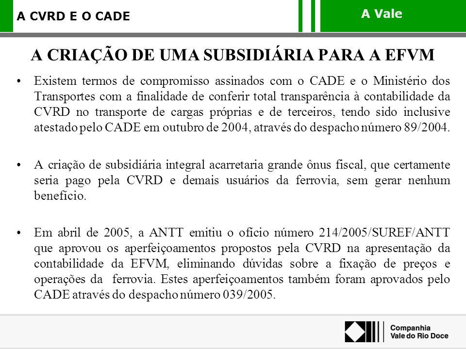 A Vale A CVRD E O CADE Existem termos de compromisso assinados com o CADE e o Ministério dos Transportes com a finalidade de conferir total transparên