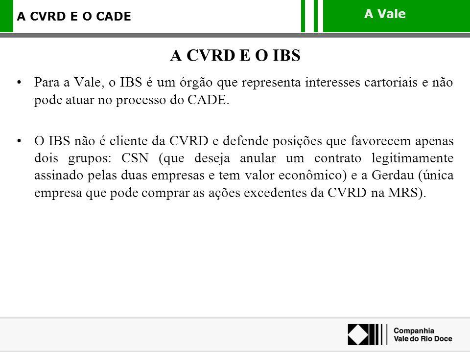 A Vale A CVRD E O CADE Para a Vale, o IBS é um órgão que representa interesses cartoriais e não pode atuar no processo do CADE. O IBS não é cliente da