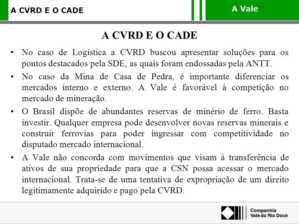 A Vale A CVRD E O CADE No caso de Logística a CVRD buscou apresentar soluções para os pontos destacados pela SDE, as quais foram endossadas pela ANTT.