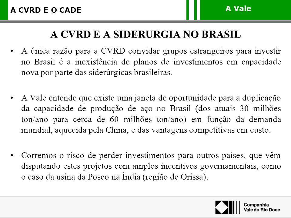 A Vale A CVRD E O CADE A única razão para a CVRD convidar grupos estrangeiros para investir no Brasil é a inexistência de planos de investimentos em c