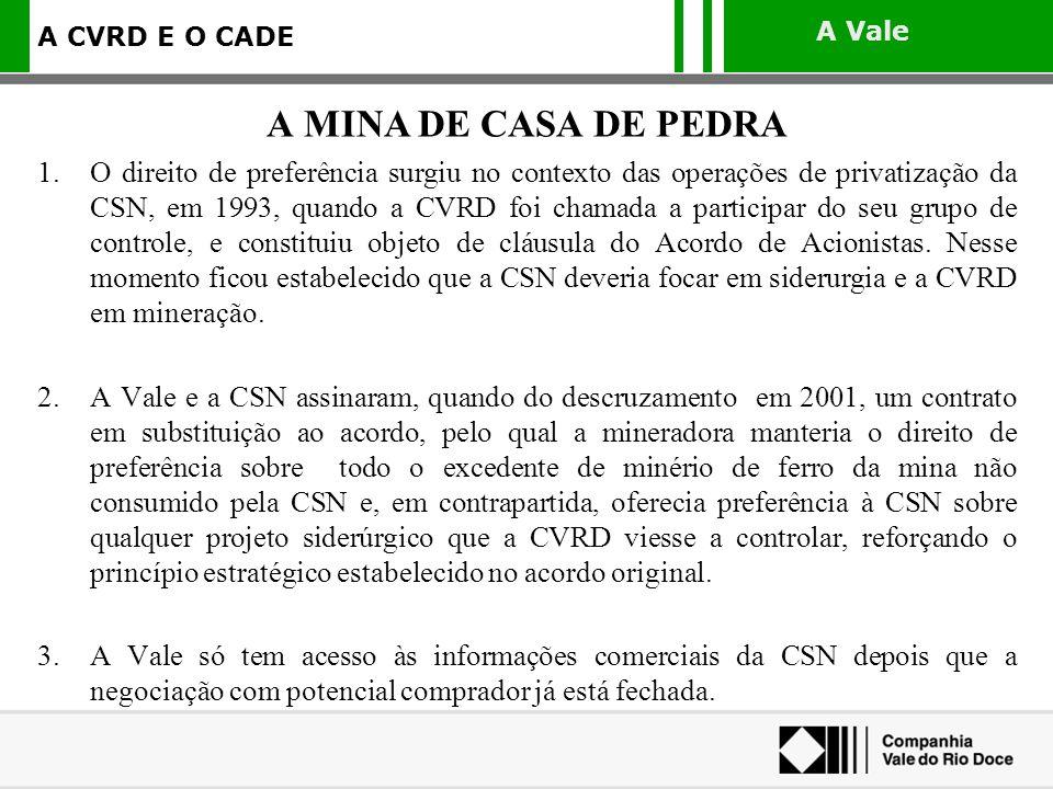 A Vale A CVRD E O CADE 1.O direito de preferência surgiu no contexto das operações de privatização da CSN, em 1993, quando a CVRD foi chamada a partic