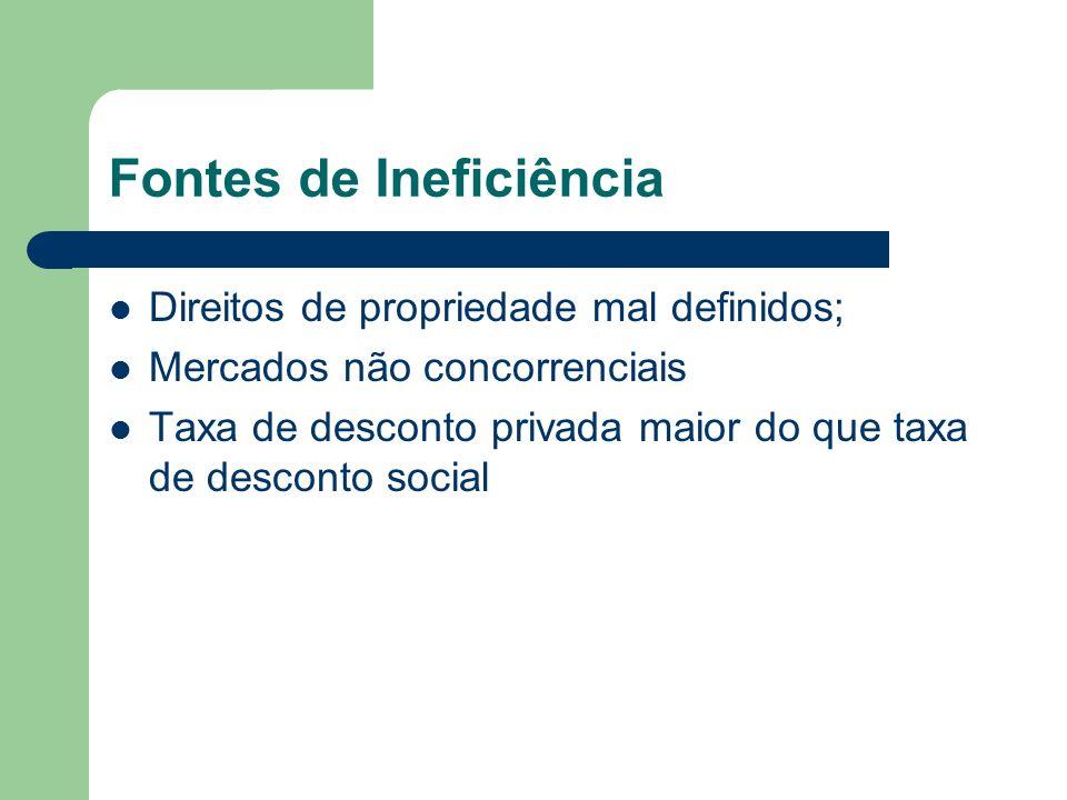 Fontes de Ineficiência Direitos de propriedade mal definidos; Mercados não concorrenciais Taxa de desconto privada maior do que taxa de desconto social