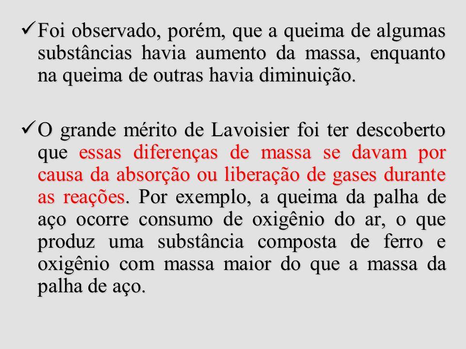 Lei de Lavoisier ExperiênciaConclusão Carbono + Oxigênio Gás Carbônico Carbono + Oxigênio Gás Carbônico 3g 8g 11g 3g 8g 11g Veja que: 3g + 8g = 11g (o