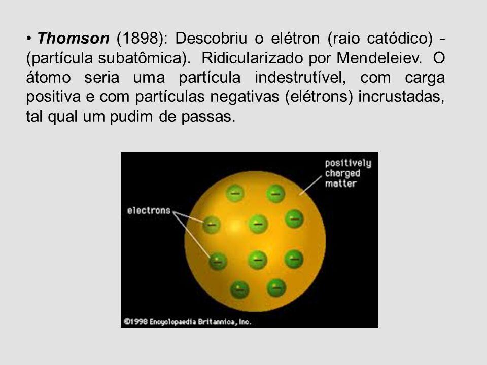 Epícuro (4 a.C.): filósofo que disse: embora não possam ser divididos, possuem estrutura. Dalton (1808): cientista. O átomo é uma partícula maciça, in