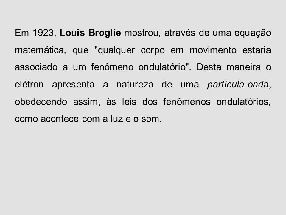 Princípio da dualidade da matéria de Louis de Broglie: o elétron apresenta característica DUAL, ou seja, comporta-se como matéria e energia sendo uma