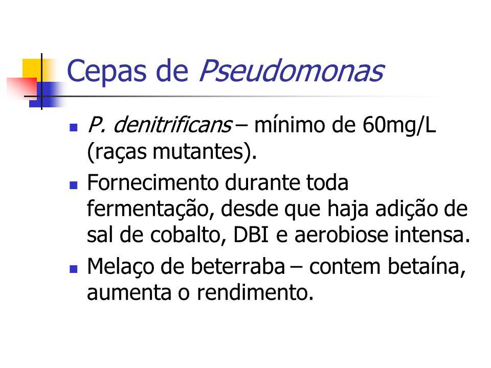 Cepas de Pseudomonas P. denitrificans – mínimo de 60mg/L (raças mutantes). Fornecimento durante toda fermentação, desde que haja adição de sal de coba