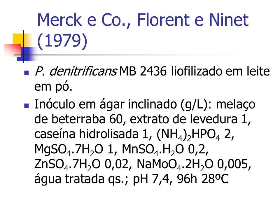 Merck e Co., Florent e Ninet (1979) P. denitrificans MB 2436 liofilizado em leite em pó. Inóculo em ágar inclinado (g/L): melaço de beterraba 60, extr