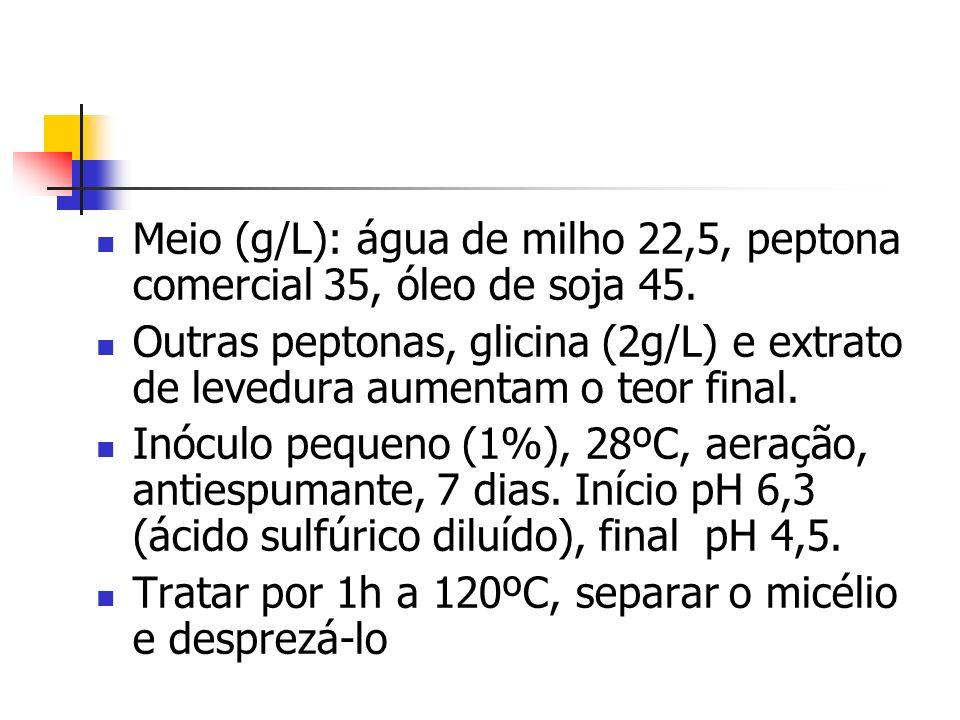 Meio (g/L): água de milho 22,5, peptona comercial 35, óleo de soja 45. Outras peptonas, glicina (2g/L) e extrato de levedura aumentam o teor final. In