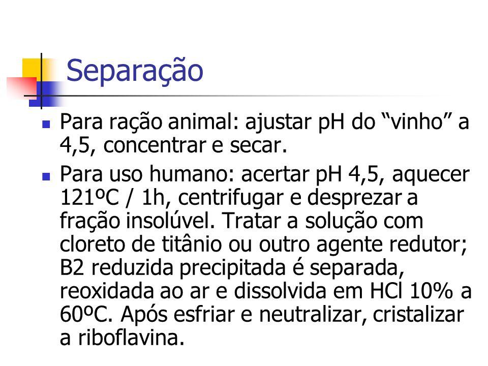 Separação Para ração animal: ajustar pH do vinho a 4,5, concentrar e secar. Para uso humano: acertar pH 4,5, aquecer 121ºC / 1h, centrifugar e desprez
