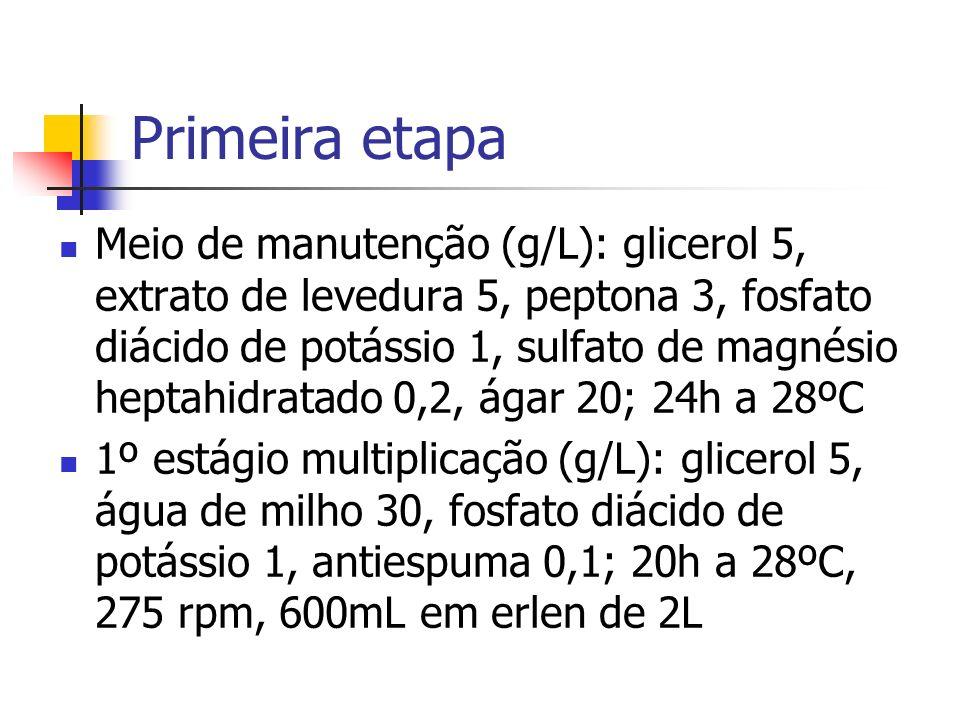 Primeira etapa Meio de manutenção (g/L): glicerol 5, extrato de levedura 5, peptona 3, fosfato diácido de potássio 1, sulfato de magnésio heptahidrata
