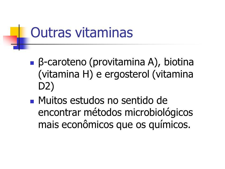 Outras vitaminas β-caroteno (provitamina A), biotina (vitamina H) e ergosterol (vitamina D2) Muitos estudos no sentido de encontrar métodos microbioló