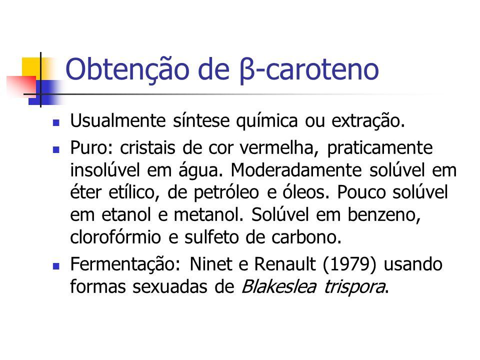Obtenção de β-caroteno Usualmente síntese química ou extração. Puro: cristais de cor vermelha, praticamente insolúvel em água. Moderadamente solúvel e