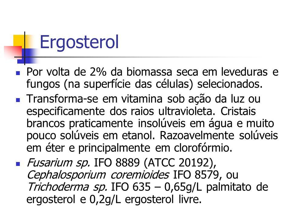 Ergosterol Por volta de 2% da biomassa seca em leveduras e fungos (na superfície das células) selecionados. Transforma-se em vitamina sob ação da luz