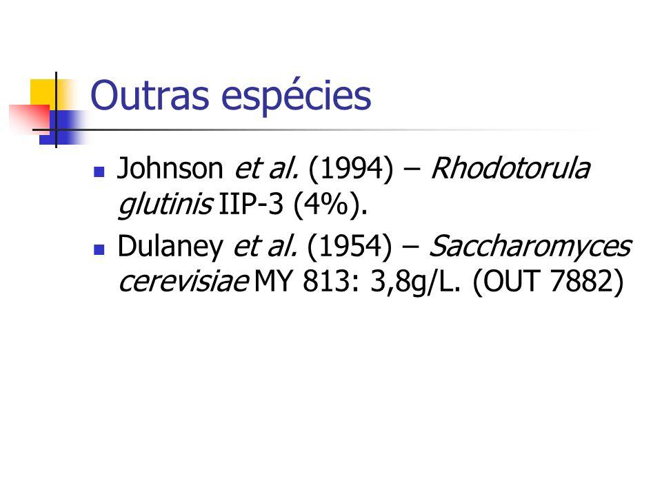 Outras espécies Johnson et al. (1994) – Rhodotorula glutinis IIP-3 (4%). Dulaney et al. (1954) – Saccharomyces cerevisiae MY 813: 3,8g/L. (OUT 7882)