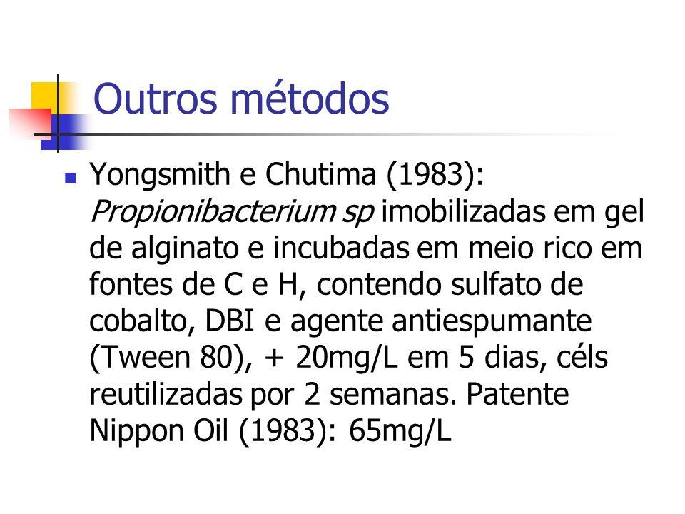 Outros métodos Yongsmith e Chutima (1983): Propionibacterium sp imobilizadas em gel de alginato e incubadas em meio rico em fontes de C e H, contendo