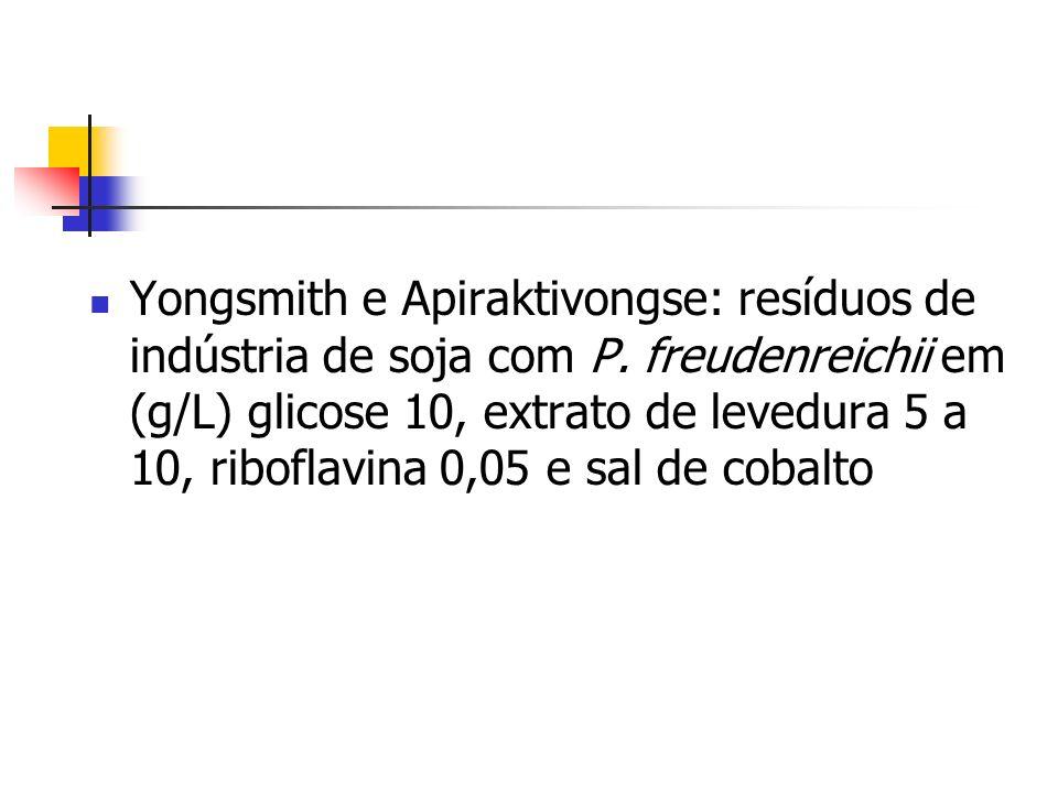 Yongsmith e Apiraktivongse: resíduos de indústria de soja com P. freudenreichii em (g/L) glicose 10, extrato de levedura 5 a 10, riboflavina 0,05 e sa