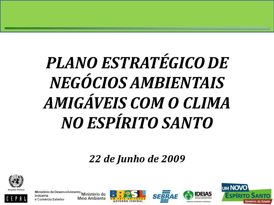 PLANO ESTRATÉGICO DE NEGÓCIOS AMBIENTAIS AMIGÁVEIS COM O CLIMA NO ESPÍRITO SANTO 22 de Junho de 2009 Ministério de Desenvolvimento, Indústria e Comérc