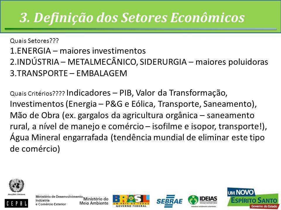 3. Definição dos Setores Econômicos Ministério de Desenvolvimento, Indústria e Comércio Exterior Quais Setores??? 1.ENERGIA – maiores investimentos 2.