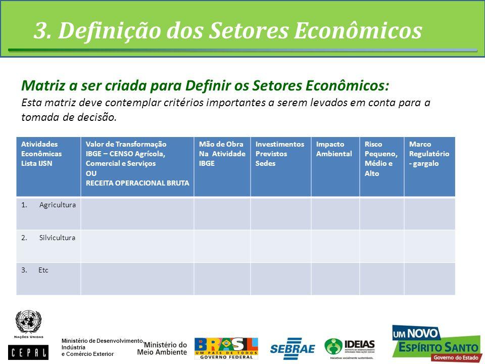 3. Definição dos Setores Econômicos Ministério de Desenvolvimento, Indústria e Comércio Exterior Atividades Econômicas Lista IJSN Valor de Transformaç