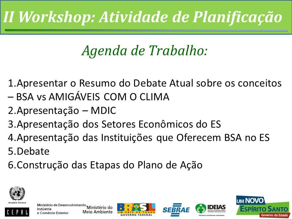 II Workshop: Atividade de Planificação Agenda de Trabalho: 1.Apresentar o Resumo do Debate Atual sobre os conceitos – BSA vs AMIGÁVEIS COM O CLIMA 2.A