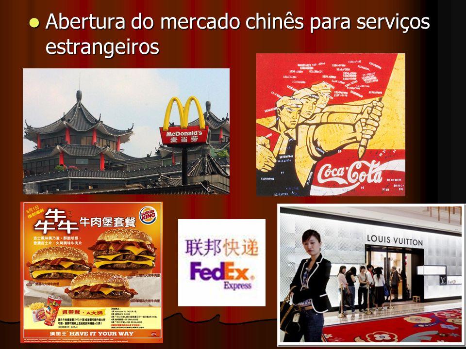 Abertura do mercado chinês para serviços estrangeiros Abertura do mercado chinês para serviços estrangeiros